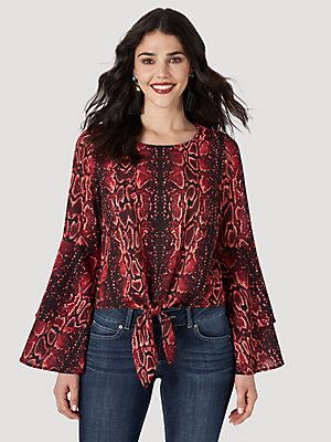 Women's Wrangler Retro® Flutter Sleeve Snake Print Crop Top