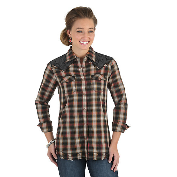 Women's Long Sleeve Yokes with Lace/Fraying Plaid Top