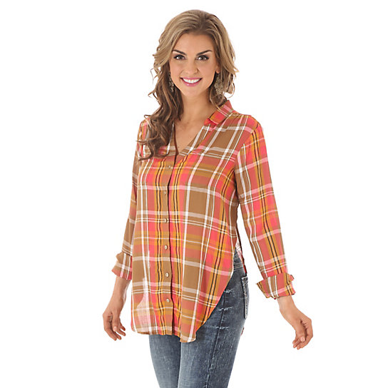 Women's Long Sleeve Y Neck Plaid Tunic