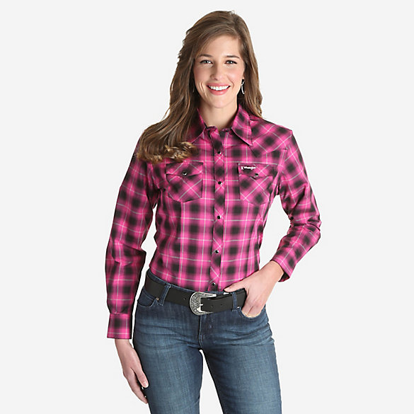 Women's Tough Enough to Wear Pink™ Long Sleeve Plaid Western Snap Top