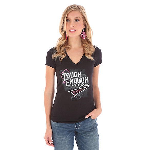 Women's Tough Enough To Wear Pink™ Short Sleeve V Neck Print Tee