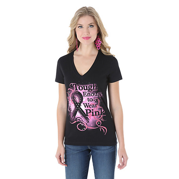 Tough Enough To Wear Pink™ Short Sleeves V-Neck Printed Top - Black