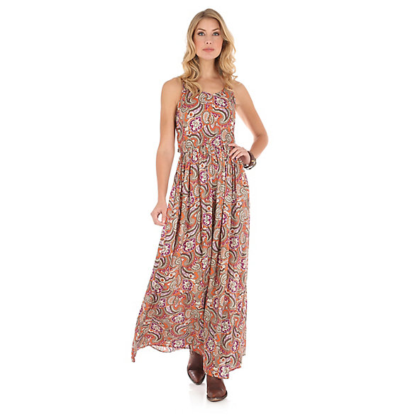 Women's Adjustable Strap Printed Maxi Dress