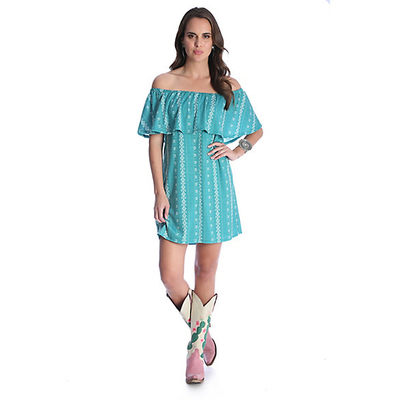 Women's Off-the-Shoulder Ruffle Printed Dress