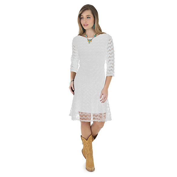 Crochet Three Quarter Length Sleeve Dress