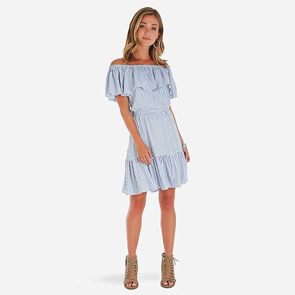 Women's Off-The-Shoulder Ruffle Stripe Dress