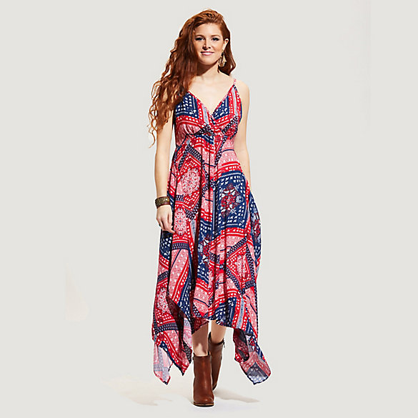 Women's Strappy Bandana Print Handkerchief Hem Dress