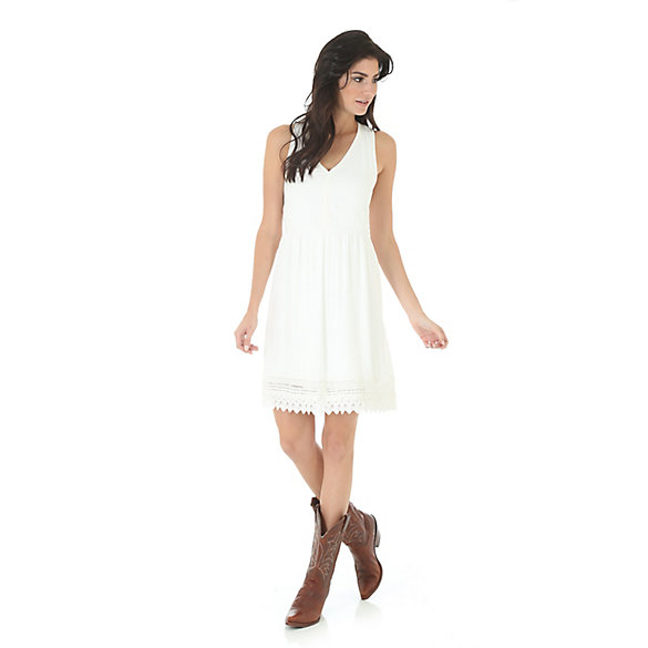 Women's Deep V-Neck Crochet Trim Dress