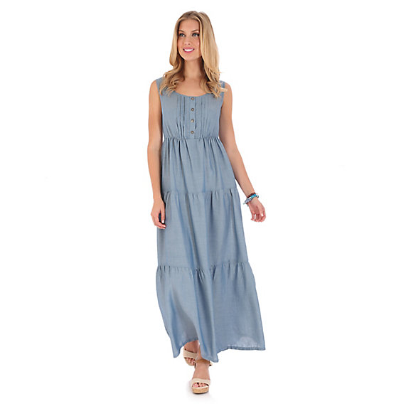 Women's Sleeveless Tiered Chambray Maxi Dress