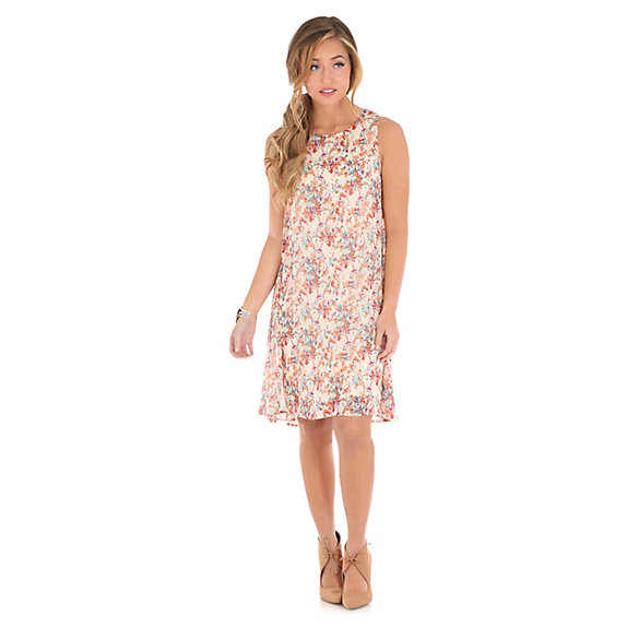 Women's Sleeveless Hi Lo Floral Dress