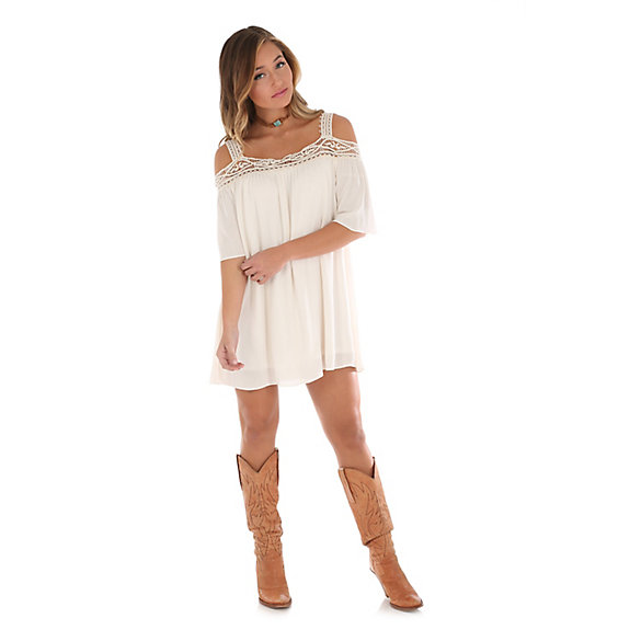 Women's Crochet Neck Cold Shoulder Dress