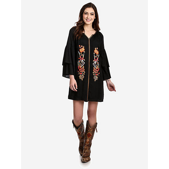 Women's Floral Embroidered Bell Sleeve Dress
