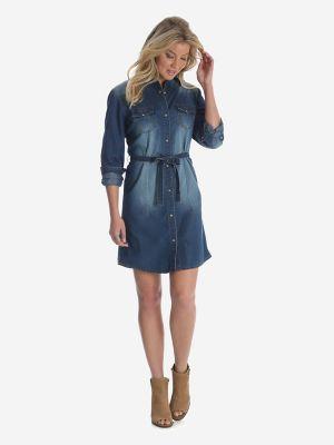 s sleeve western denim shirt dress womens