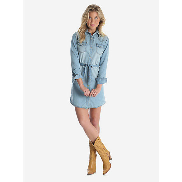Women's Long Sleeve Western Denim Shirt Dress