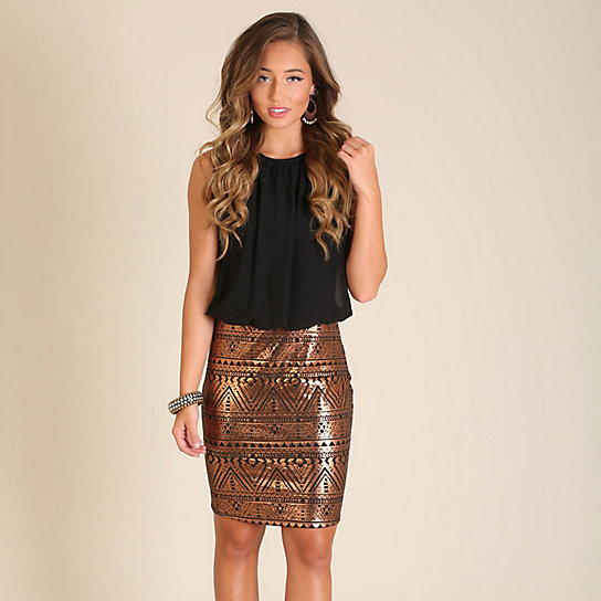 Metallic Skirt Dress