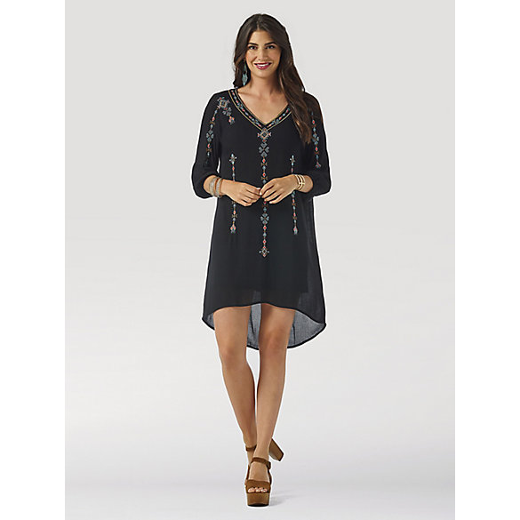 Women's Wrangler Retro® Long Sleeve Embroidered Hi-Lo Hem Dress