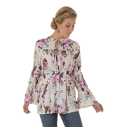 Women's Empire Waist Floral Peasant Top