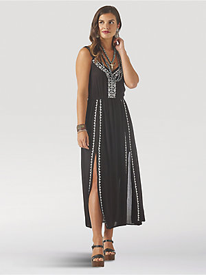 Women's Wrangler Retro® Sleeveless Embroidered Maxi Dress