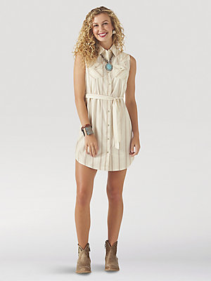 Women's Wrangler Retro® Sleeveless Western Snap Shirt Dress