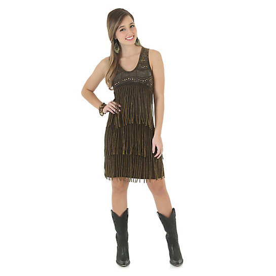 Beaded Dress with Fringe Tiers
