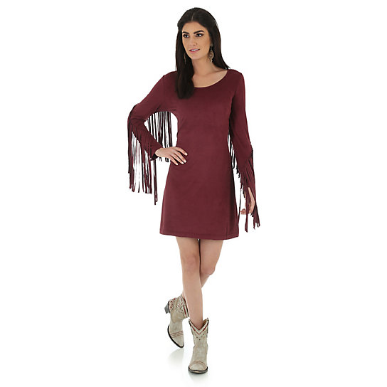 Faux Suede Fringe Sleeve Dress