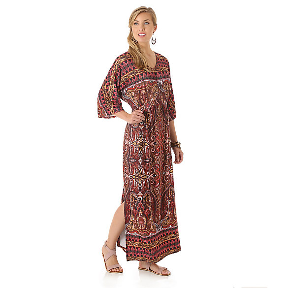 Kimono Style Maxi Dress with Slit