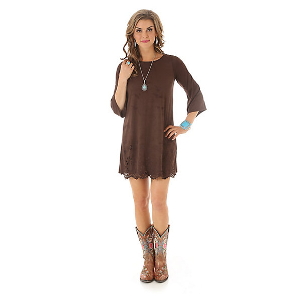 Hem Design Faux Suede Dress