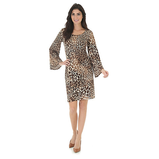 Bell Sleeve Animal Print Shift Dress