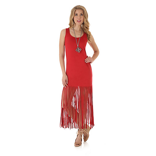 Fringe Skirt Faux Suede Dress