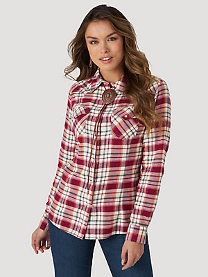Women's Essential Long Sleeve Flannel Plaid Western Snap Shirt