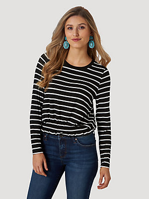 Women's Essential Long Sleeve Smocked Waist Stripe Top