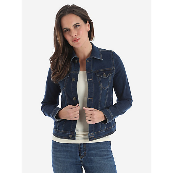 Wrangler® Premium Denim Jacket with Button Flap - Dark Denim ...