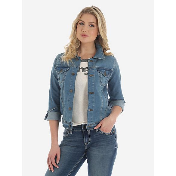Wrangler® Premium Denim Jacket with Button Flap - Light Denim