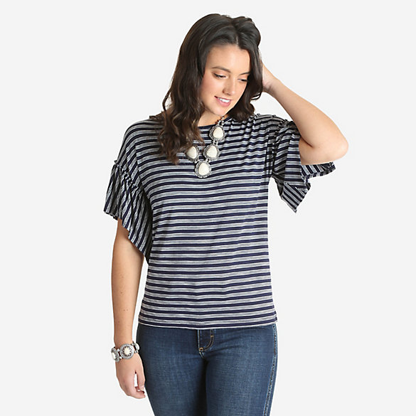 Women's Horizontal Striped Ruffle Sleeve Top