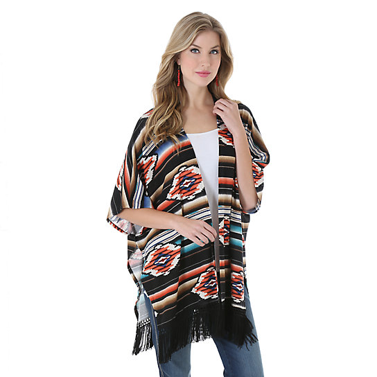 Wrangler® Printed Cardigan with Fringe at Bottom Hem