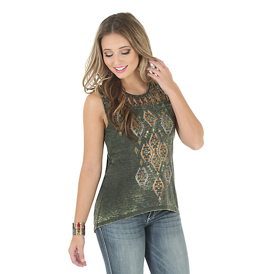 Wrangler® Sleeveless Printed Top with Braiding at Neck and Shoulders