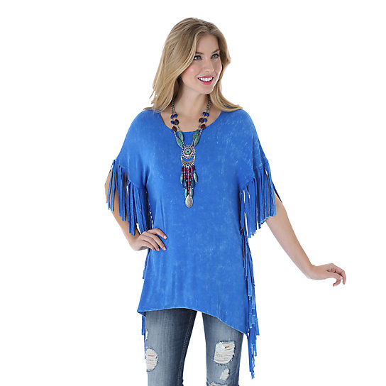 Wrangler® Dolman Sleeve Solid Top with Fringe at Sleeves and Sideseams