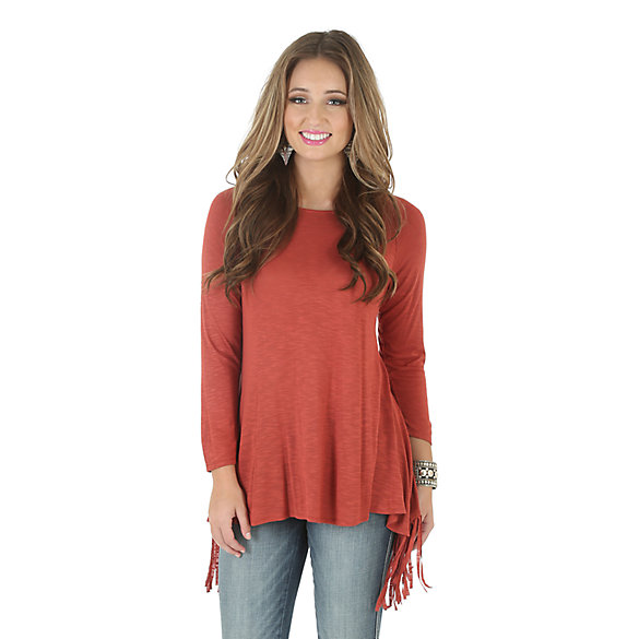 Wrangler® Long Sleeve Solid Tunic with Criss Cross Fringe Back