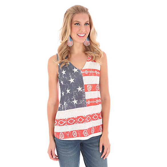 Women's Sleeveless Allover Americana Screenprint Top