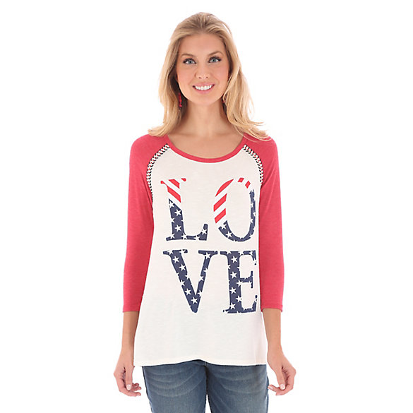 Women's Contrast Sleeves with Decorative Trim at Shoulder Seams Print Tee