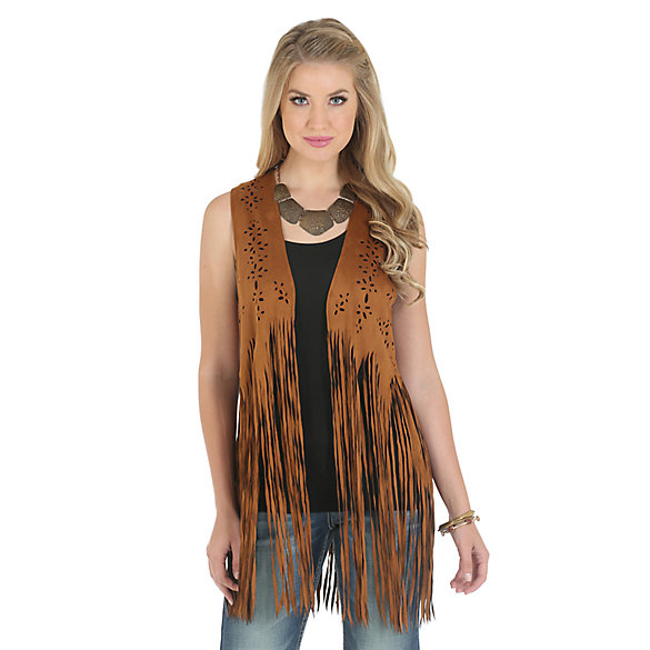Wrangler® Faux Suede Vest with Laser Cut Design and Fringe - Honey