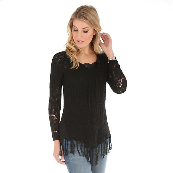 Women's V Neck with Fringe at Hem Solid Sweater