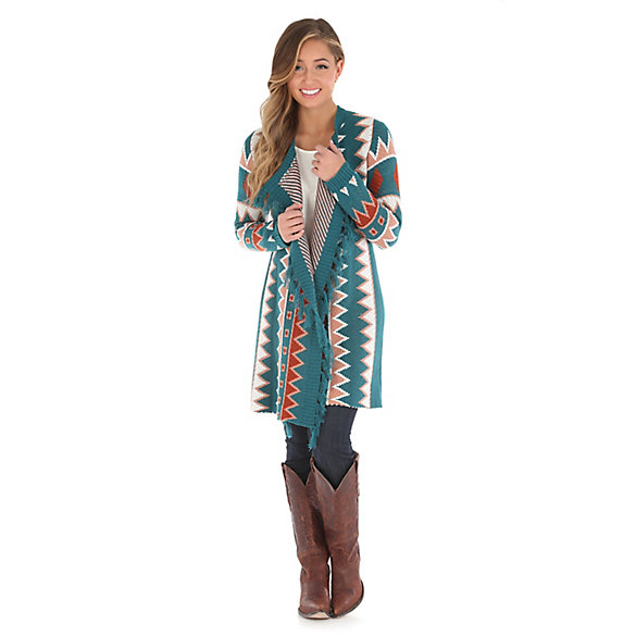 Women's Aztec Print Knit Cardigan with Fringe