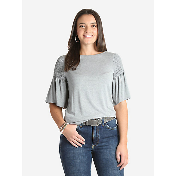 Women's Wrangler Retro® Flutter Sleeve Smocked Shoulder Top