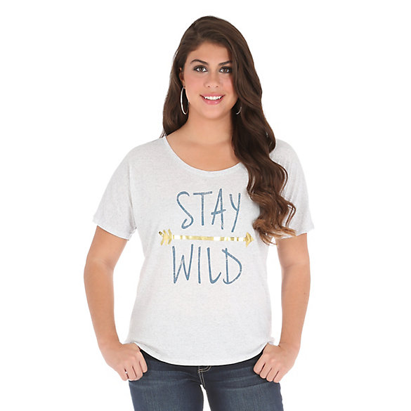 "Women's Short Sleeve ""Stay Wild"" Graphic Flowy Tee"