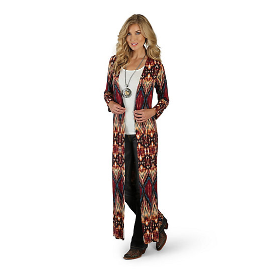 Women's Slits on Side of Printed Long Cardigan