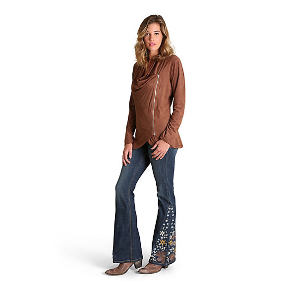 Women's Draped Neckline Faux Suede Jacket