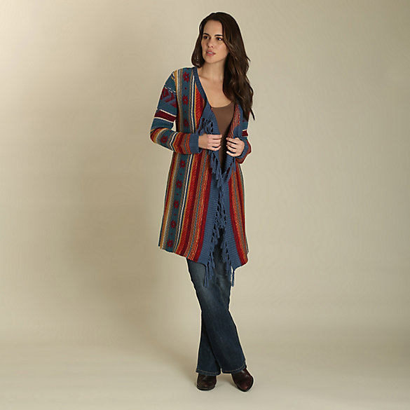 48747a4f7d Women s Wrangler® Long Sleeve Toggle Front Aztec Print Duster ...