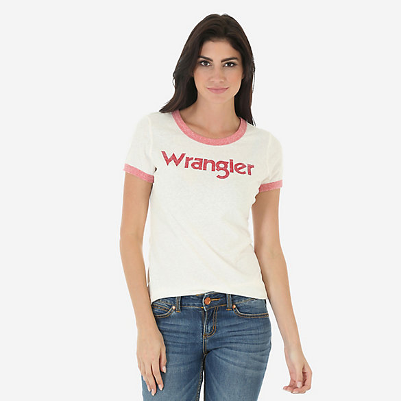 Women's Short Sleeve Distressed Ringer Tee