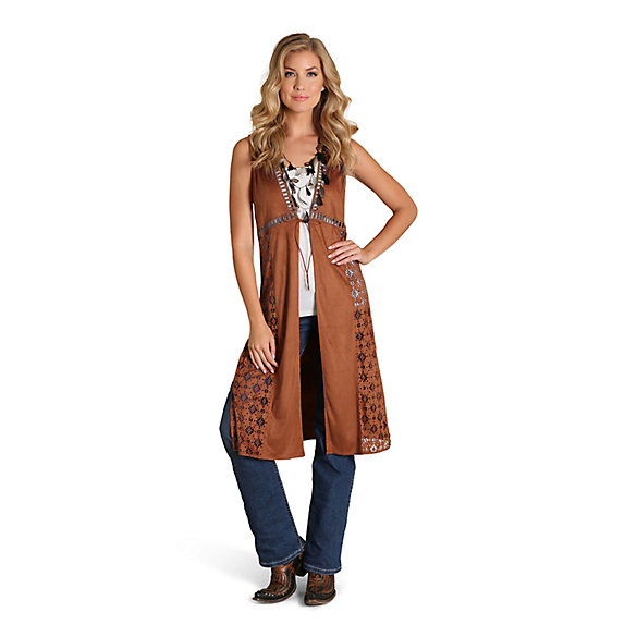 Women's Faux Suede Laser Cut Solid Duster